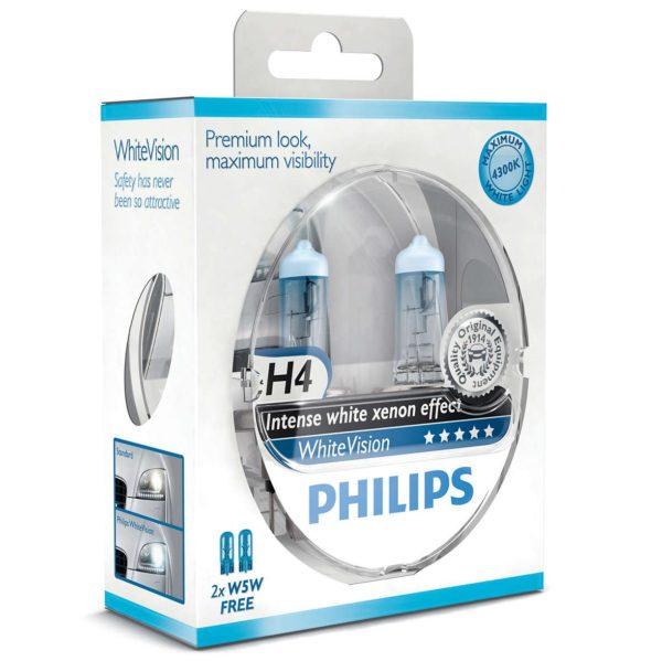 ΛΑΜΠΕΣ PHILIPS H4 WHITEVISION 4300K +60%